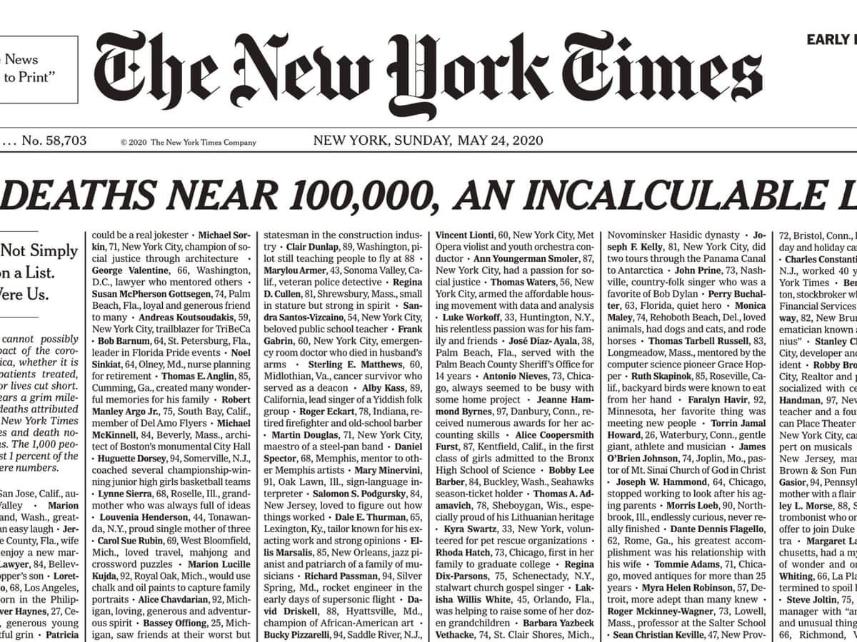 New York Times koronavirüs sebebiyle hayatını kaybeden  insanların isimlerini yayınladı