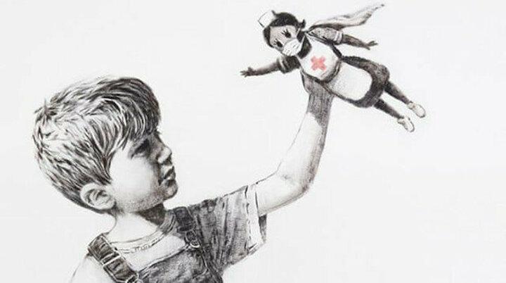 Dünyaca ünlü sokak sanatçısı Banksy'den grafiti