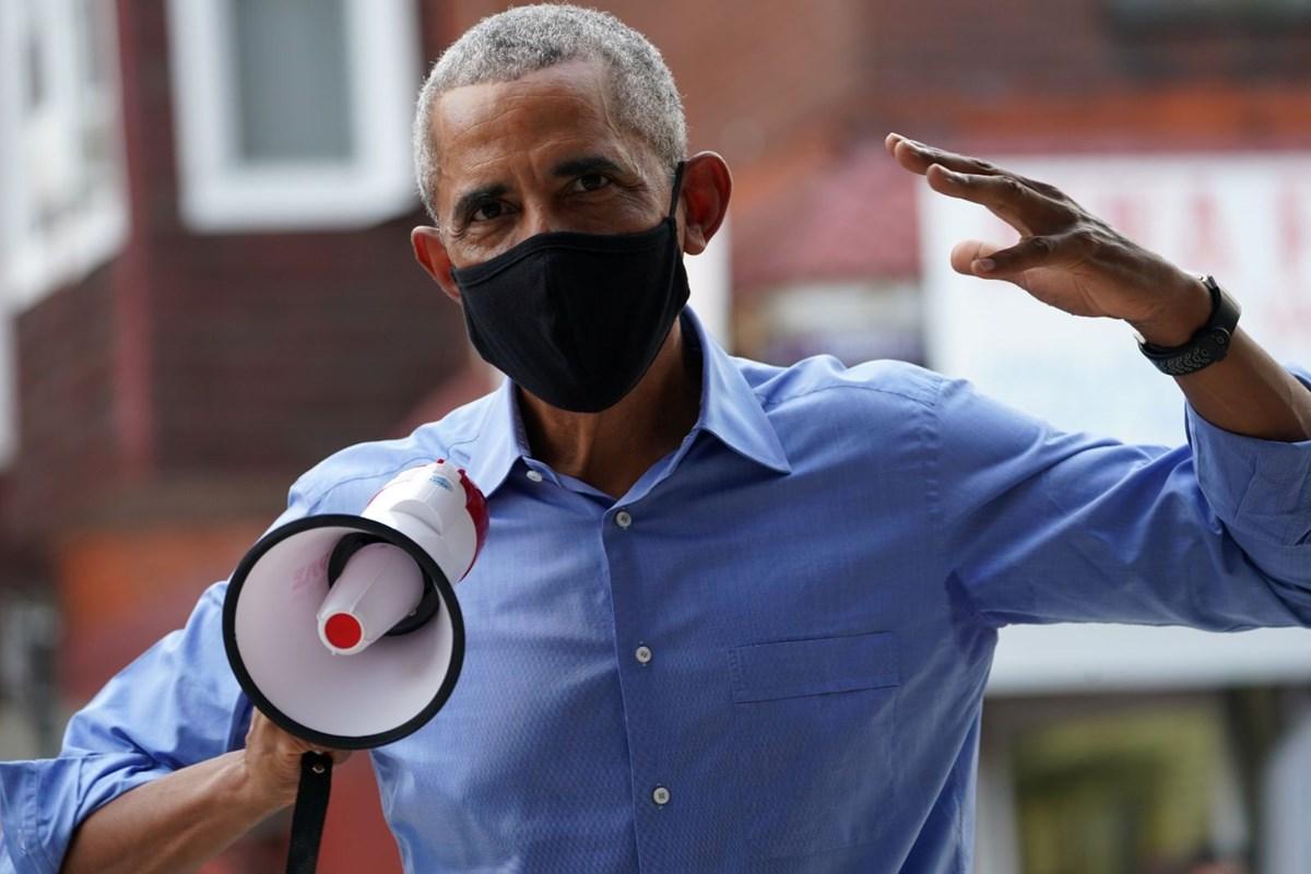 Obama megafonla Biden'e oy istedi!